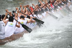 DRAGON BOAT RACING. Dragon Boat Racers Rowing Their Boat Stock Photos