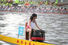 DRAGON BOAT RACING. Dragon Boat Racers Rowing Their Boat Royalty Free Stock Photos