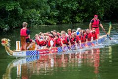 Dragon boat racing on the River Avon at Chippenham, Wiltshire, UK stock photo
