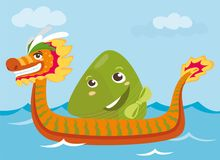 Dragon boat & rice dumpling cartoon characters illustration Stock Photography