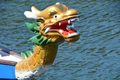 Dragon Boat Dragon in Salem, Oregon. This is a dragon on the bow of a dragon boat that participated in races on the Willamette River in Salem, Oregon during the Royalty Free Stock Photography