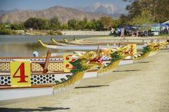 Dragon boat at Santa Fe Dam Recreation Area. Los Angeles County, California, United States Stock Image