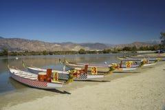 Dragon boat at Santa Fe Dam Recreation Area. Los Angeles County, California, United States Stock Photo