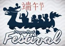 Dragon Boat Silhouette con i Paddlers per il festival di Duanwu, illustrazione di vettore Immagine Stock Libera da Diritti