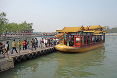 Dragon boat in summer palace Stock Photos