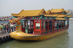 Dragon boat in summer palace Stock Photo