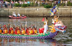 Dragon Boat Team Dressed Up As Game Characters Royalty Free Stock Photo