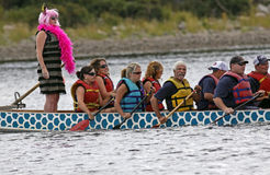 Dragon boat team pink sweep Royalty Free Stock Images