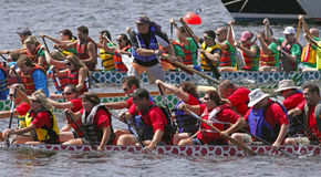 Dragon boat teams race Royalty Free Stock Image