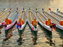 Dragon boats. Basking in a warm sunlight before the race Royalty Free Stock Photo