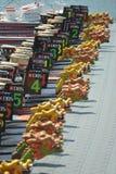Dragon boats awaiting to race at DBS river Regatta 2013 Stock Images