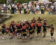 Dragon boats co,mpetitors Royalty Free Stock Photo