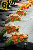 Dragon Boats at the dock. Stock Photos