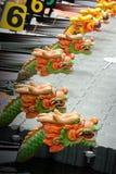 Dragon Boats at the dock. Stock Photos