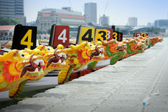 Dragon Boats at the dock. Royalty Free Stock Photo