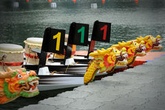 Dragon Boats at the dock. Royalty Free Stock Photography