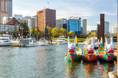 Dragon Boats and Downtown Portland Royalty Free Stock Images
