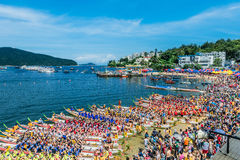 Dragon boats festival race Stanley beach Hong Kong Royalty Free Stock Photography