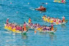 Dragon boats festival race Stanley beach Hong Kong Royalty Free Stock Photos