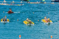 Dragon boats festival race Stanley beach Hong Kong Royalty Free Stock Images