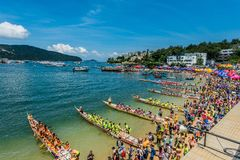 Dragon boats festival race Stanley beach Hong Kong Stock Image
