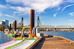 Dragon Boats and Hawthorne Bridge Stock Photography