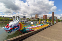 Dragon Boats moored along Willamette River Royalty Free Stock Photography