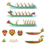 Dragon boats set, team of male athletes compete at Dragon Boat Festival vector Illustrations. On a white background Stock Photo
