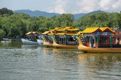 Dragon boats at the summer palace stock image