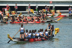 Dragon boats teams preparation at DBS river Regatta 2013 Royalty Free Stock Images