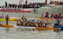Dragon Boats at the Thames Pageant Royalty Free Stock Photo
