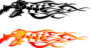 Dragon Bone Flame Tattoo. Two Variation of tribal pattern flame Royalty Free Stock Photos