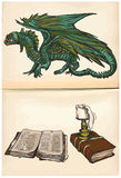 Dragon and books - hand drawings, vector Royalty Free Stock Images