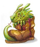 Dragon in a boot. Funny cartoon dragon sits in a fragmentary boot and smile Stock Photography
