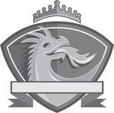Dragon Breathing Fire Crown Shield Retro Royalty Free Stock Photos