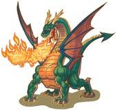 Dragon Breathing Fire Vector Illustration muscular Imágenes de archivo libres de regalías