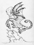 Dragon breathing fire. Vintage fire breathing dragon hand drawn with ink Royalty Free Stock Photo