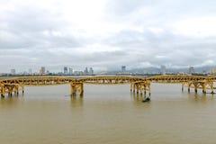 Dragon Bridge Cau Rong Da Nang Vietnam Arkivbilder