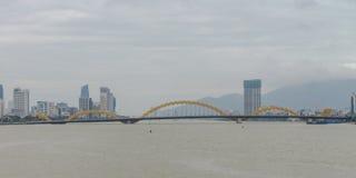 Dragon Bridge Cau Rong Da Nang Vietnam Arkivfoton