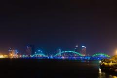 Dragon bridge and city night view Danang Vietnam Stock Image