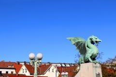 Dragon Bridge, Ljubljana fotografia de stock royalty free