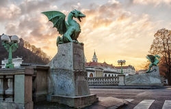 Dragon bridge in Ljubljana. Center Royalty Free Stock Photos