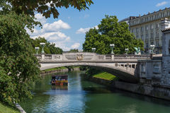 Dragon Bridge in Ljubljana during the day Royalty Free Stock Photo