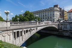 Dragon Bridge in Ljubljana during the day Royalty Free Stock Photography