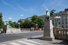 Dragon Bridge in Ljubljana during the day Stock Photos