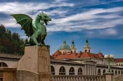 Dragon bridge, Ljubljana royalty free stock images