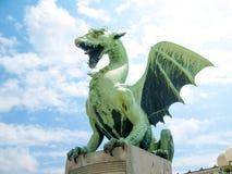 Dragon on a bridge in Ljubljana Stock Images