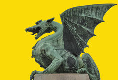 Dragon bridge in Ljubljana isolated on yellow background Stock Images