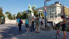 Dragon Bridge Ljubljana Slovenia stockfotografie