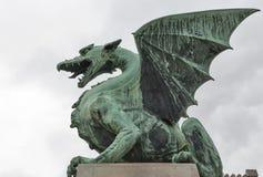 Dragon bridge in Ljubljana, Slovenia Royalty Free Stock Photo